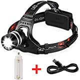 1800LM Rechargeable Headlamp CREE LED, Zoomable Headlamp Flashlight, T6 Head Lights LED for Camping, black (18650/3 AAA Batteries Powered)
