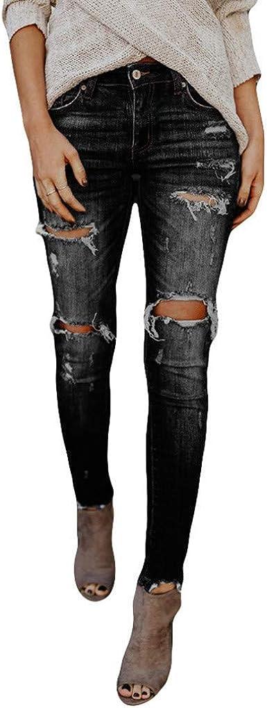 Women/'s Slim Fit Jeans Denim High Waist Ripped Long Pants Trousers