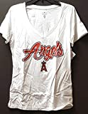Campus Lifestyle Los Angeles Angels Women's V-Neck T-Shirt, White, Small