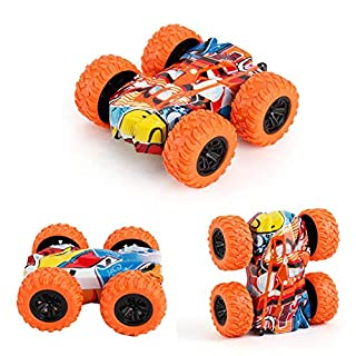 Binmer Pull Back Cars, Inertia-Double Side Friction Powered Shockproof Stunt Graffiti Car Off Road Model Truck Toy Cars,Push and Go Vehicles for Toddler Boy Girls3-12 Year-Old Birthday Gift (Orange)
