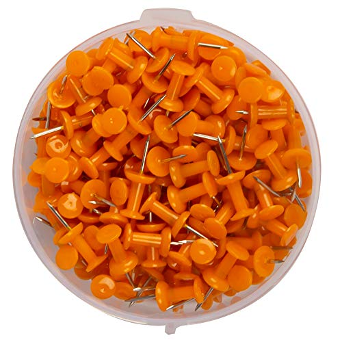 200 -ATL Plastic Head, Steel Point Colorful Pushpins Per Container (Orange) ()