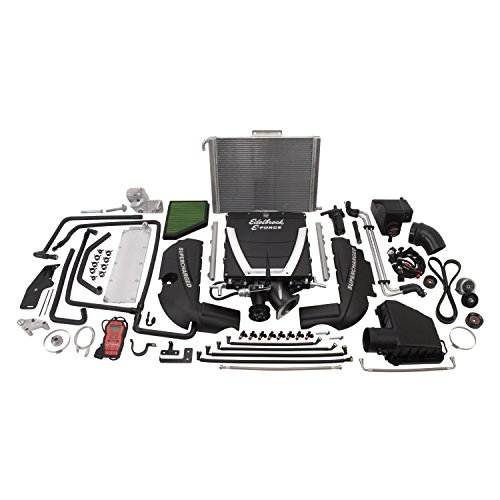 Edelbrock 1563 E-Force Stage-1 Street Systems Supercharger 2300 TVS 599 HP/547 ft/lbs TQ Incl. Supercharger/Manifold/3.875 in. 6 Rib Drive Pulleys/102/106.5 in. Belt Low Profile Top E-Force Stage-1 Street Systems Supercharger