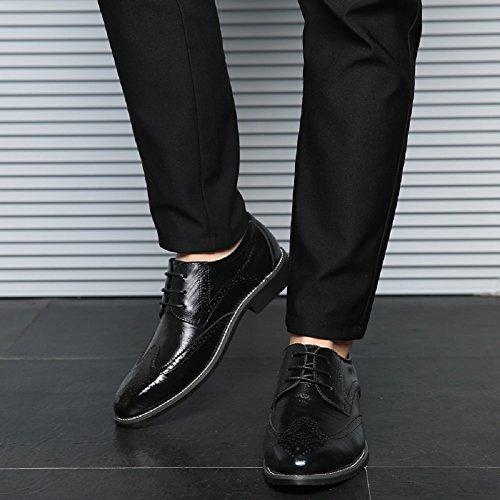 JOYTO Business Herren Anzugschuhe, Lederschuhe Schuhe Brogue Schnürhalbschuhe Oxford Smoking Lackleder Hochzeit Derby Leder Schwarz Braun 38-48 Schwarz