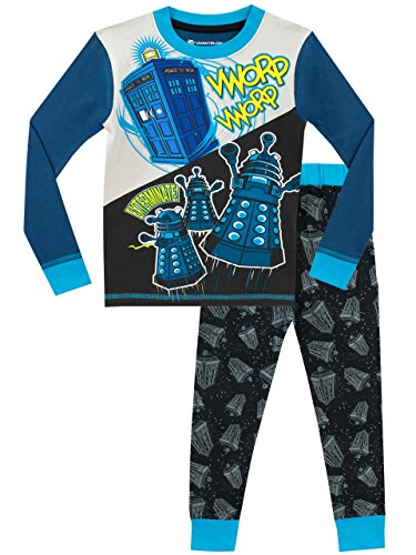 Doctor Who Boys' Tardis and Daleks Pajamas Size 8 Multicolored