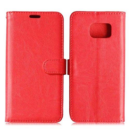 Wkae Case Cover Sintético de alta calidad caja de cuero de la carpeta del color sólido de la cubierta del soporte de silicona para Samsung S7 Edge ( Color : Red , Size : Samsung S7 Edge ) Red