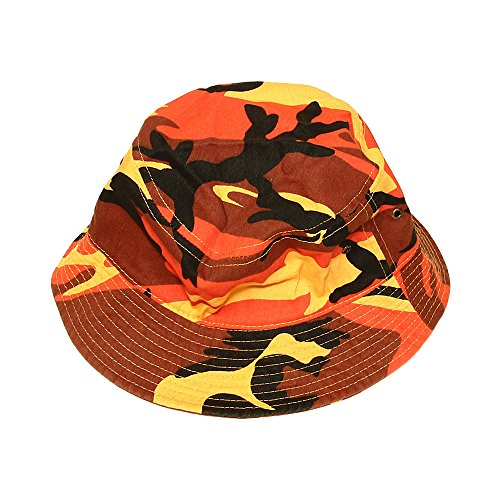 Falari Men Women Unisex Cotton Bucket Hat Large/X-Large Orange Camo