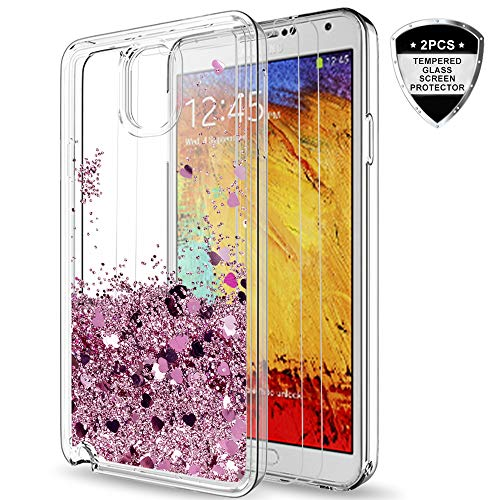 Galaxy Note 3 Case with [2 Pack] Tempered Glass Screen Protector for Girls Women,LeYi Shiny Cute Moving Quicksand Liquid Clear TPU Protective Phone Case for Samsung Galaxy Note 3 ZX Rose Gold