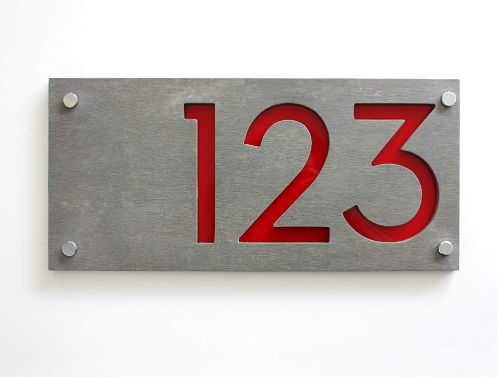 Modern House Numbers,Concrete /& Red Acrylic-Sign Plaque Door Number Rectangle