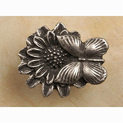 Butterfly on Flower knob (Set of 10) (Pewter with Cherry)