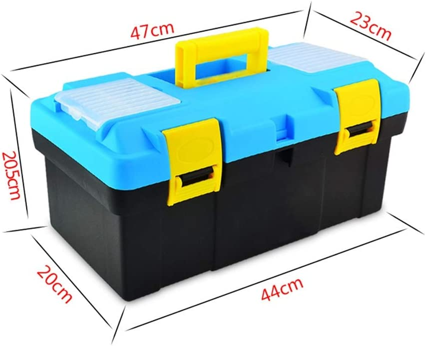 Tool Boxes Plastic Toolbox with Tray Comfort Handle and Latch Toolbox for Daily Tool Parts Storage Storage Toolbox (Color : Black-B) Light Blue-c