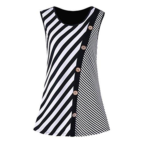 Sexyville Femme Mode Dbardeur Sexy Col Rond Ray Impression Bouton sans Manche Vest T-Shirt Gilet t Tops Noir