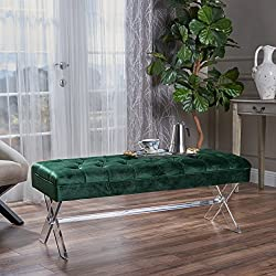 Eclectic Tufted Emerald Velvet Ottoman with Clear Acrylic Legs