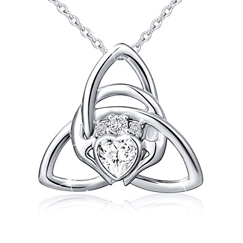925 Sterling Silver Good Luck Irish Claddagh Celtic Knot Love Heart Pendant Necklace for Women Ladies Birthday Gift, 18