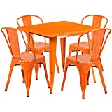 Flash Furniture 31.5'' Square Orange Metal Indoor-Outdoor Table Set with 4 Stack Chairs