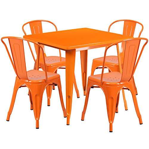 Flash Furniture 31.5'' Square Orange Metal Indoor-Outdoor Table Set with 4 Stack Chairs by Flash Furniture (Image #1)