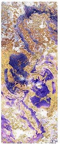 Eco friendly 天然ゴムヨガマットプロフェッショナルノンスリップ初級印刷妖精パッド拡幅ベッドルームスキッドスエード exercise (色 : Purple)