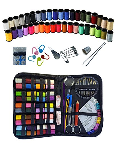 Sewing Kit - DIY Premium Sewing Supplies - Mini Sewing kit - Adults - Traveler and Home - Beginner - Filled with Mending and Sewing Needles - 40 Spools - Thimble - Tape Measure & Accessories, MhSun
