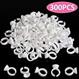 BTArtbox 300PCS Tattoo Rings Cups Disposable Glue Holder Plastic Tattoo Ink Pigment Ring Adhesive Makeup Rings Palette For Eyelash Extension Nail Art, Christmas Gift Idea