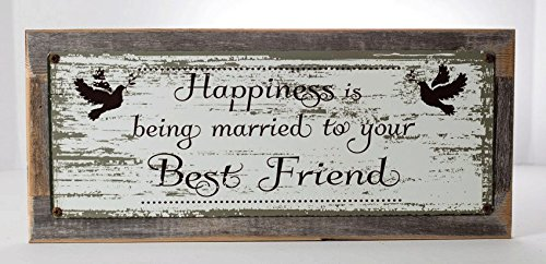 Friends Tin Sign - Framed Happiness is Being Married to your Best Friend Metal Sign, Doves, Wedding, Love, Anniversary, Gift
