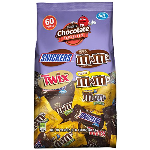 SNICKERS, M&M'S & TWIX Fun Size Christmas Candy Variety Mix, 60 Pieces