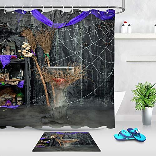 LB Rustic Halloween Theme Shower Curtain Skulls