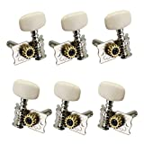 Blesiya 6pcs Silver Open Gear Guitar Tuning Pegs with Cream Button for Acoustic Classical Guitar Parts Accessories