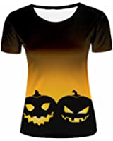 8026de8d008 ZeShan Women Summer T-Shirts Halloween Pumpkin 3d Front Back Polyester Tops  Print