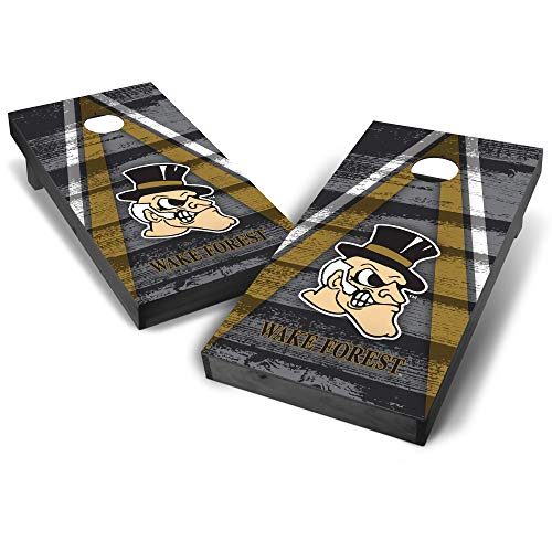 (Wild Sports NCAA College Wake Forest Demon Deacons 2' x 4' Grey Authentic Cornhole Game Set - Vintage Triangle Design)