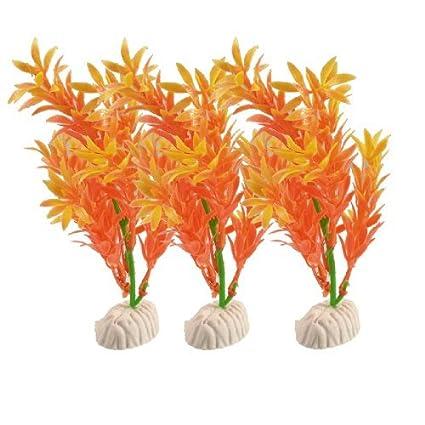 eDealMax 3 piezas Planta de agua de plástico, DE 5.1 pulgadas, Naranja/Verde