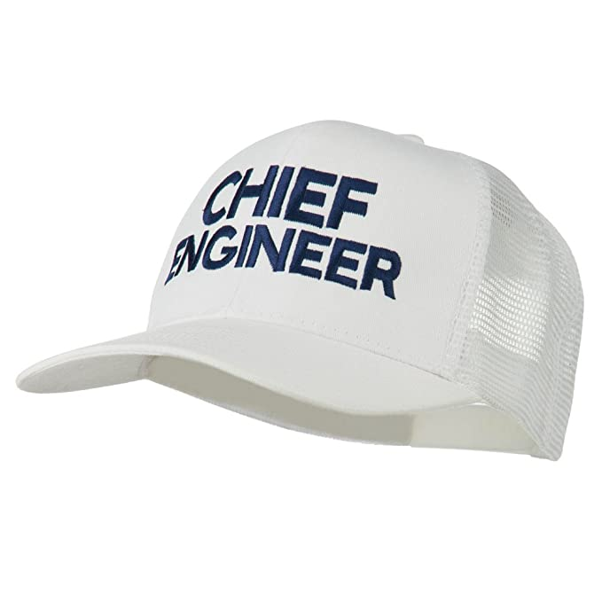a5b83964dfd E4hats Chief Engineer Embroidered Twill Mesh Cap - White OSFM at ...