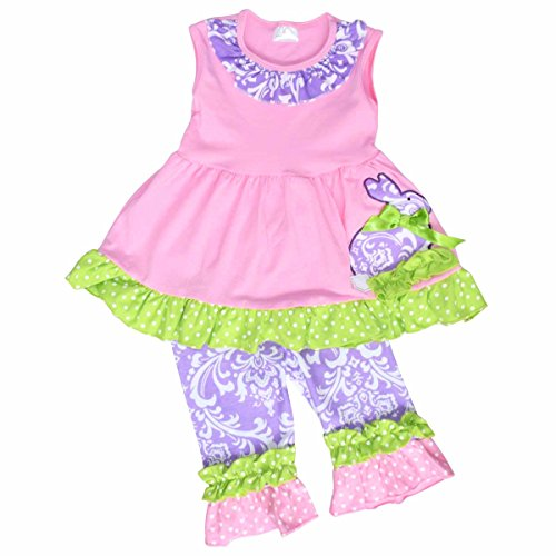 Unique Baby Girls Damask Easter Bunny Easter Outfit (8/XXL, Pink) -