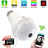 Bulb Camera WiFi IP LED 16GB 1080P HD 200W IR Infrared night vision 360 Degree Panoramic Fisheye for Remote Home Office indoor House Baby Room Pet Security Surveillance Wireless(updated version)