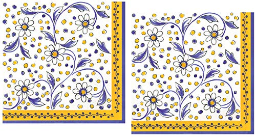 40 Le Cadeaux Benidorm Yellow Paper Napkins | Disposable Dinner Paper Napkin Set | French Country Provence Floral Theme with Shades of White and Blue (Floral Dinner Paper)