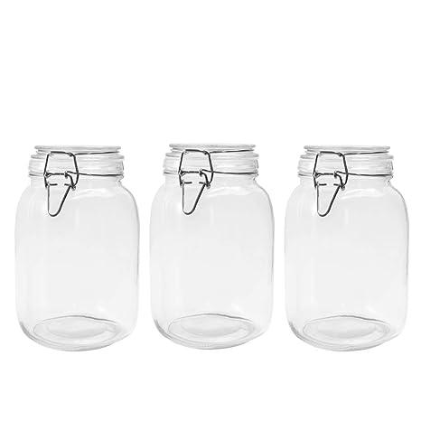 82ab8b19b216 Amazon.com: Betrome 50 OZ Glass Jar 3 Pack Reusable Storage Jar with ...
