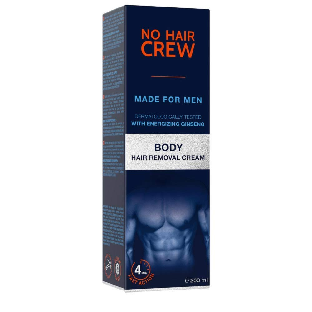 No Hair Crew Body At Home Hair Removal Cream for Unwanted Hair with Energizing Ginseng, Premium Depilatory, Painless & Flawless, Made for Men, 200ml