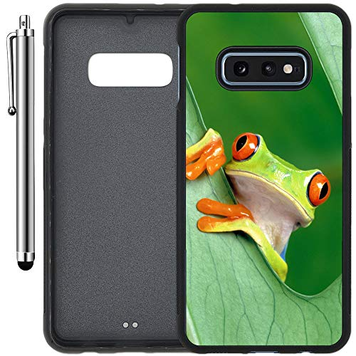 Custom Case Compatible with Galaxy S10e (5.8 inch) (Nice Rain Forest Frog) Edge-to-Edge Rubber Black Cover Ultra Slim | Lightweight | Includes Stylus Pen by Innosub