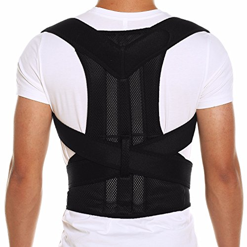CFR Pro Posture Corrector Back Brace Support Belt for Shoulder Back Waist Pain Relief with Double Strong Splints for Humpback Recorrect Body Shape Black,S UPS Post from CFR