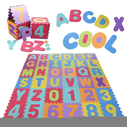 Kindsells Play mats Carpet ABC Flooring Mat for Children & Toddlers Tiles EVA Foam Rainbow Letters and Numbers Puzzle Play Mat Dresses