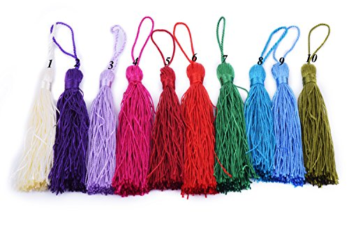 Find Discount KONMAY 20pcs Silky Handmade Tiny(3.5'') Soft Craft Mini Tassels with Loops for Bookmar...
