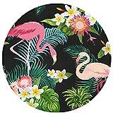 Tropical Jungle Flamingos Floral Comfortable Non-Slip Seat Cushion Circular Chair Cushions Round Mat Round Rug Cute Swivel Chair Mat Stool Cover Pad Round Bath Mat 15.75IN