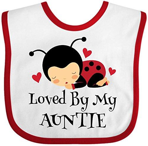 (Inktastic - Loved By My Auntie ladybug Baby Bib White/Red)