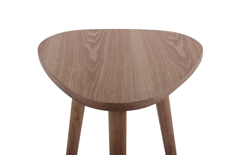 CLP Tavolino da Appoggio Moderno Esbjerg H 47 cm Bianco 40 cm 3 Gambe Tavolo Scandinavo Triangolare Soggiorno in MDF e Legno di caucci/ù