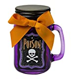 """Halloween Gift Jar Full of Candies with """"Poison"""" Sticker, Assorted Colors"""