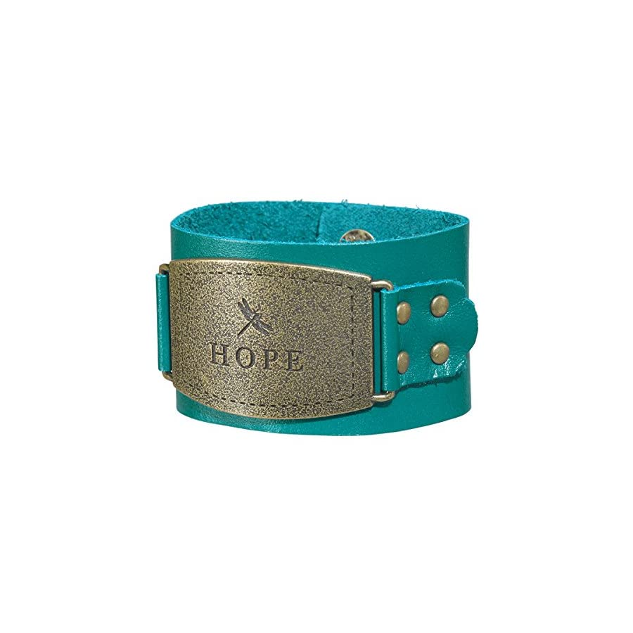 "Ladies Leather Christian Cuff Wristband w/""Hope"" Buckle"