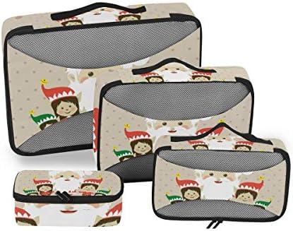 クリスマスサンタガールズクラウス荷物パッキングキューブオーガナイザートイレタリーランドリーストレージバッグポーチパックキューブ4さまざまなサイズセットトラベルキッズレディース