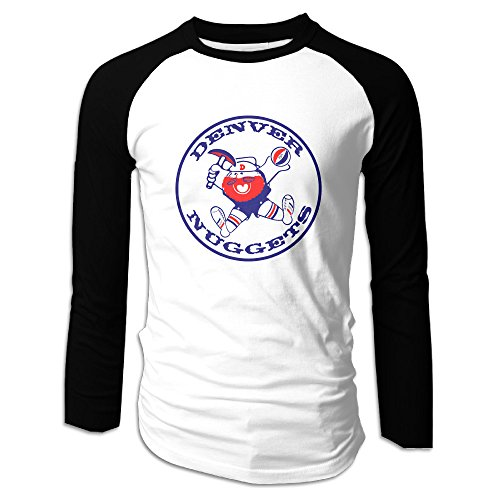Creamfly Mens Basketball Nuggets Team Long Sleeve Raglan Baseball Tshirt L