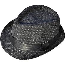 Simplicity Fashion Adult Unisex Pinstripe Band Fedora Formal Hat