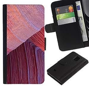Samsung Galaxy S5 Mini / SM-G800 (Not For S5!!!) Modelo colorido cuero carpeta tirón caso cubierta piel Holster Funda protección - Climbing Red Desert Lines