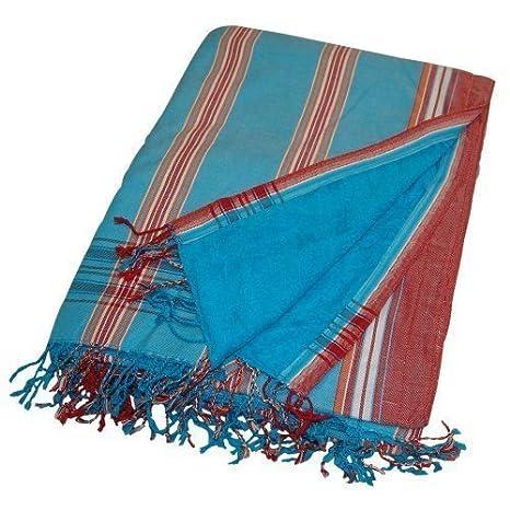 KIKOY Toalla Playa Toalla de baño Pareo ORIGINAL Keniano LUZ AZUL CELESTE dos tonos rojo blanco borde con NARANJA BLANCO RAYAS ROJAS Toallas es azul ...