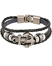 A Vintage leather bracelet decorated with beads and an anchor, attached to the wrist for men and women, Black